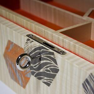 Luxury Wooden Box close-up of escutcheon