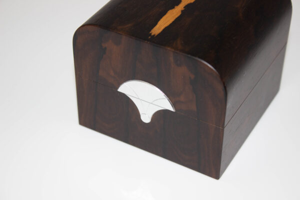 Close-up wooden trinket box front