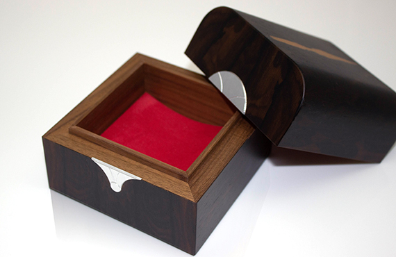 Close-up of luxury wooden trinket box interior
