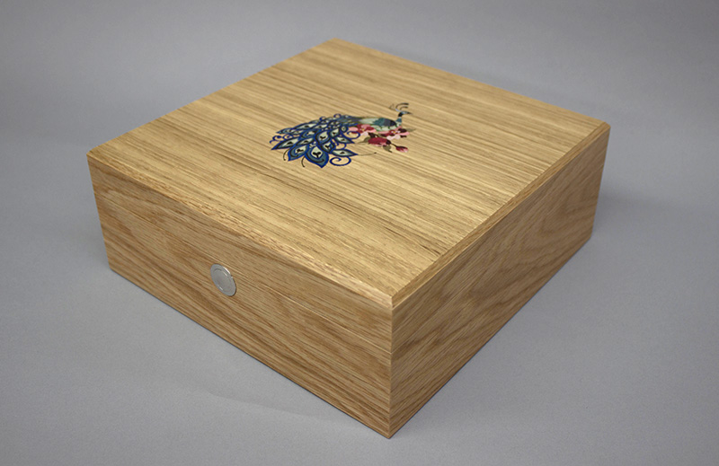 Luxury Jewellery Box in Oak with peacock Marquetry