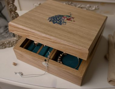 Close-up Luxury Jewelry Box with Peacock Marquetry